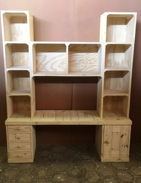 Study desk and bookshelf units Cottage series 1800 - Raw