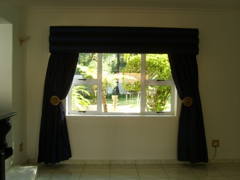 20 Royal Blue Taffeta Curtains