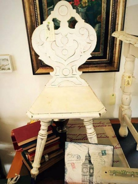 White antique carved chair