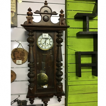 Victorian walnut regulator clock