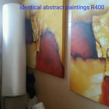Two large abstract oil paintings