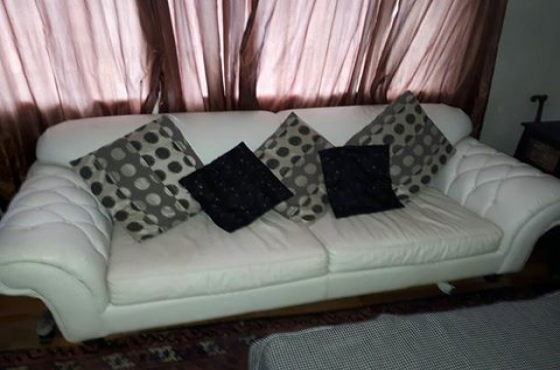 White Leather 3 Seater Couch Junk Mail