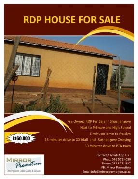 RDP Houses in Soshanguve Exts | Junk Mail