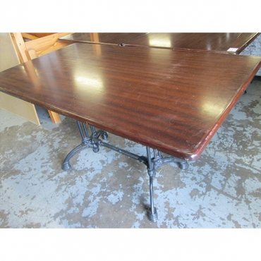 magogany top table with cast iron legs