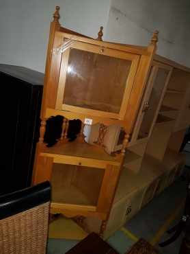 Yellow wood display cabinet