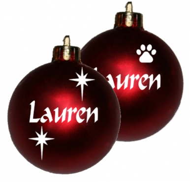 Personalised Christmas baubles.