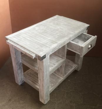 Braai Trolley Chunky Farmhouse series 1000 with drawer Weathered look
