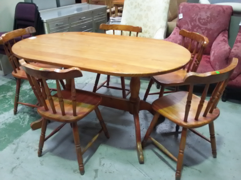 Pine dining room table + chairs