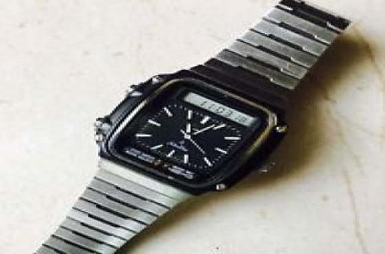 Vintage 1981  Dual time Seiko  Wrist Watch James Bond 007 Style 0829592218