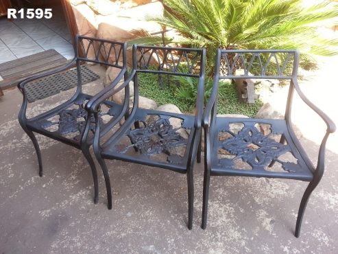 3 x Cast Iron Patio Chairs