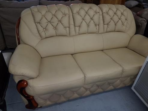 Cream leather lounge