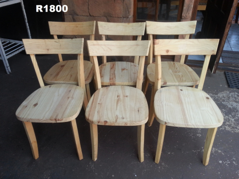 6 x Raw Pine Chairs