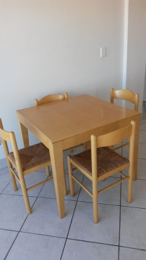 Beech wood dining table and 4 chairs