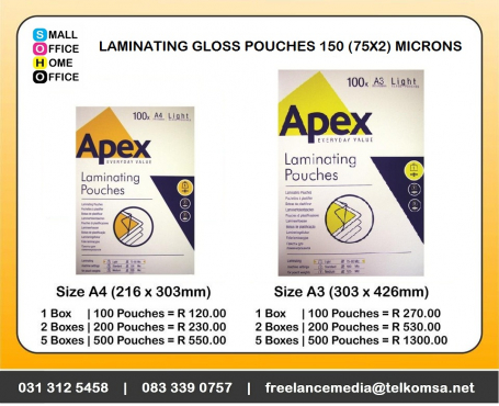 Laminating Gloss Pouches 150 (2x75) microns