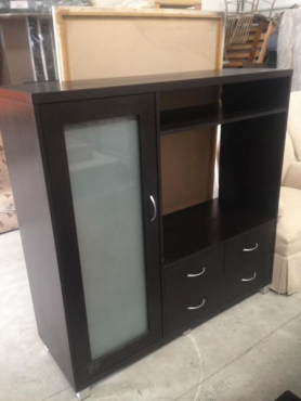 dark brown tv stand with shelves and drawers