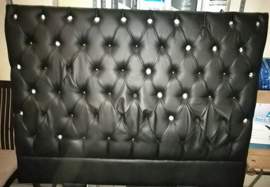 Black Leather Headboard double bed