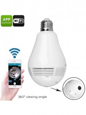 LED Light Bulb Security Camera - 360-Degree Fisheye, Motion