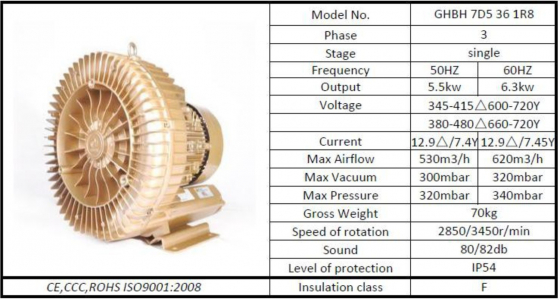 5.5 kw air cooled vacuum pump