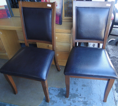 Beautiful Darkwood & Leather Dinning Room Chairs in a fantastic condition for-sale at R650 each